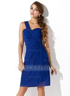 Homecoming Dresses - $112.99 - Sheath One-Shoulder Knee-Length Chiffon Homecoming Dress With Ruffle (022010850) http://jjshouse.com/Sheath-One-Shoulder-Knee-Length-Chiffon-Homecoming-Dress-With-Ruffle-022010850-g10850?ver=1