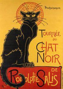 """Le Chat Noir by Theophile-Alexandre Steinlen- Paris  France - 24""""x36"""" Canvas"""