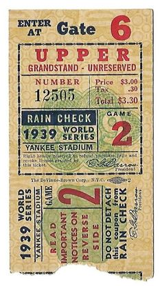 1939 WORLD SERIES GAME 2 TICKET STUB-RARE-FREE USA SHIP-JOE DIMAGGIO