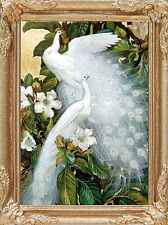 White Peacocks Dollhouse Picture FRAMED Miniature Art - MADE IN AMERICA