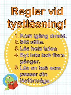 Regler vid tystläsning. Primary School, Elementary Schools, Learn Swedish, Swedish Language, Teachers Aide, School Classroom, Phonics, Activities For Kids, Back To School