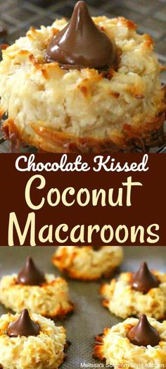 These Chocolate Kissed Coconut Macaroons are a spinoff combining classic macaroons and blossom cookies. The simple cookie dough for the. Köstliche Desserts, Delicious Desserts, Dessert Recipes, Coconut Desserts, Coconut Cupcakes, Coconut Recipes, Plated Desserts, Salad Recipes, Cake Recipes