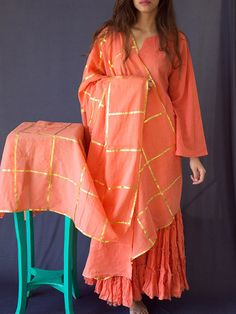 Peach Cotton Gota Work Dupatta