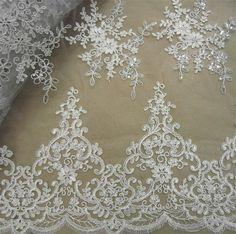 Wedding Lace Fabric, Embroidery Lace Fabric, Corded Lace Fabric, Beaded Lace Fabric, 51 inches Wide for Bridal Dress, Craft Making, 1/2 Yard