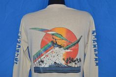 vintage #80s windsurf rainbow vinosurf sunset surf hawaii ls t-shirt medium m from $39.99