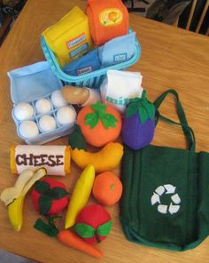 Felt Food Play Kitchen 25 piece set, Eco Friendly, Grocery store, groceries, fruits, vegetables. $114,95, via Etsy.
