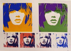 Brigitte Bardot multiples.  Colori: arancio, rosso, nero, viola, giallo, blu, verde. Cartoncino grigio 50 x 70 cm  Colors: orange, red, black, purple, yellow, blue, green. Grey cardboard 19,68 x 27,56 inches