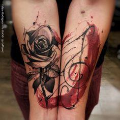 Tattoo Zarina Tatushkina - tattoo's photo In the style Trash polka, Flowe Top Tattoos, Flower Tattoos, Body Art Tattoos, Girl Tattoos, Tattoos For Guys, Tattoos For Women, Forearm Tattoos, Tattoo Ink, Small Tattoos