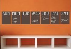 Chalk Board Set Organization Daily Week Vinyl Decor Wall Lettering Words Quotes Decals Art Custom Willow Creek Signs via Etsy Vinyl Decor, Wall Decor, Letter Wall, Home Organization, Organizing, Looks Cool, Home Projects, Vinyl Projects, My Dream Home