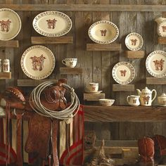 Boots and Saddle Western Dinnerware- Ranch Style Cowboy Dishes by True West Vintage Western Decor, Western Kitchen Decor, Primitive Kitchen, Dinnerware Sets, China Dinnerware, Farmhouse Dinnerware, Texas Home Decor, Western Furniture, Cabin Furniture