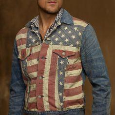 Denim And Supply Ralph Lauren Denim & Supply Ralph Lauren Mens American Flag Print Denim Jacket Size L $139 - Grailed