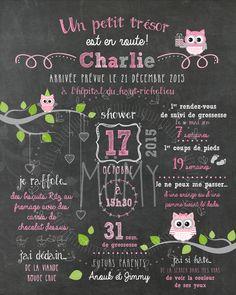 """Affiche personnalisée shower de bébé """"Hiboux roses et gris"""" - 25$ #chalkboard #babyshower"""