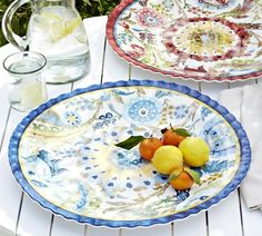 "19"" diameter blue and yellow melamine platter"