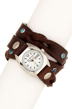 Triple Leather Strap Watch with Turquoise.