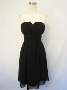 White House Black Market Little Black Dress Strapless Chiffon $119.99
