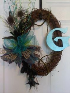 Grapevine Wreath with feathers and initial by TheUniqueDoor, $65.00