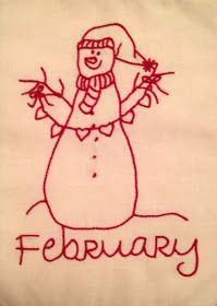 Starwood Quilter: February Redwork Snowman and Valentine Food for Thought Christmas Embroidery Patterns, Christmas Applique, Hand Embroidery Patterns, Embroidery Designs, Butterfly Embroidery, Blackwork Embroidery, Folk Embroidery, Cross Stitch Embroidery, Snowman Quilt