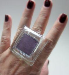 MAXI ANEL de vidro transparente / roxo base metal n 19 4 x 4 cm = grande R$43,00
