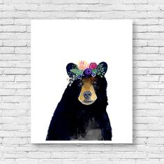 Watercolor Bear Woodland Nursery Art Set of Prints by zuhalkanar