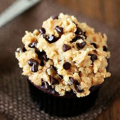 Chocolate Cupcakes with (Egg Free!) Peanut Butter Cookie Dough Frosting.  Believe it. #foodgawker