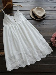 $26.49 Embroidered Smock Babydoll Dress - WHITE ONE SIZE