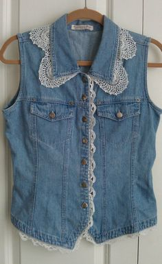upcycled denim vest w/ vintage lace and mother by liveabundantly, $128.00