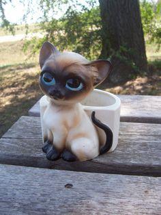 Vintage Lefton Siamese Cat Planter by chesterjenny on Etsy, $7.00