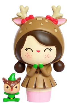 Green LUCKY   by Lili Bunny resin figure asian Secret Message MOMIJI Doll
