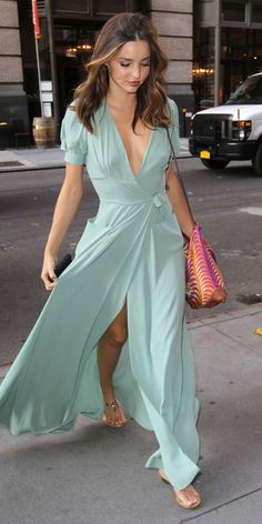 Love the colour, love the wrap dress. Definitely not such a deep neckline and just regular short sleeves.