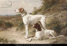 Two pointers Hans and Spot on the heath - Otto Eerelman