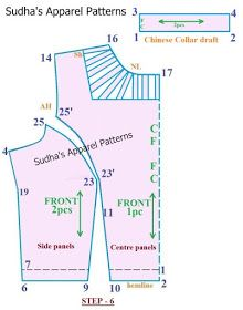 High neck saree blouse pattern will have armhole princess line in front and Chinese collar with a stripe design around neckline. This blouse will have a back opening. Wedding Dress Patterns, Dress Sewing Patterns, Clothing Patterns, Dress Paterns, Back Neck Designs, Blouse Neck Designs, High Neck Saree Blouse, Sari Blouse, Neck Pattern