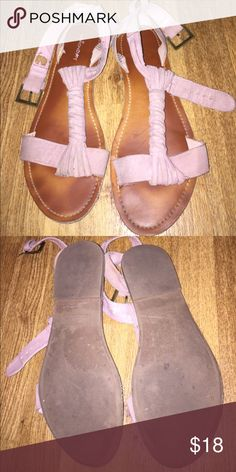 Mauve sandals So cute. A little dirty but can be easily cleaned I just haven't taken the time. If you'd like me to clean them before purchasing I will take the time to do so. Just trying to clear my closet. Brand is Union bay.  Need my items gone ASAP!! Free People Shoes Sandals
