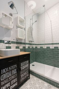 bw +green industrial factory bathroom style inspiration