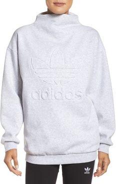 Grey mock turtle neck sweatshirt. Women's Adidas Originals Mock Neck Sweatshirt