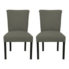@Overstock.com - Barcelona Klein Rollerback Dining Chairs (Set of 2) - These Barcelona Klein dining chairs will add a contemporary look to your home decor with grey fabric upholstery and espresso wood legs. These chairs include fire-retardant foam for extra safety and peace of mind.  http://www.overstock.com/Home-Garden/Barcelona-Klein-Rollerback-Dining-Chairs-Set-of-2/7907749/product.html?CID=214117 $254.99