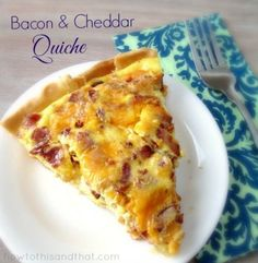 Our Easy Quiche Recipe Plus 4 Variations. Perfect for feeding a big crowd a hearty breakfast, brunch or any time meal! Easy Quiche Recipe Plus 4 Variations! Easy Quiche Recipe- Bacon cheddar plus 4 other variations so it. Breakfast Desayunos, Breakfast Dishes, Breakfast Recipes, Easy Breakfast Food, Quiches, Omelettes, Cooking Recipes, Healthy Recipes, Quish Recipes