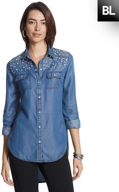 $64, Blue Embellished Denim Shirt: Chico's Embellished Denim Shirt. Sold by Chico's. Click for more info: https://lookastic.com/women/shop_items/321370/redirect