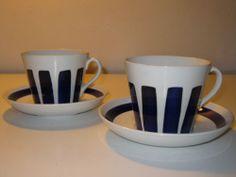 Upsala Ekeby Gefle Etta Pair of Cups and Saucers Large   eBay