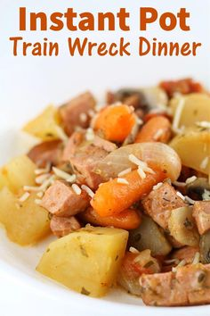 Instant Pot Train Wreck Dinner–a throw everything into the pot type of dinner that comes out tasting amazing! You're going to love the tender potatoes, carrots, tomatoes, onions, mushrooms and sausage sprinkled with cheese. Entree Recipes, Sausage Recipes, Crockpot Recipes, Cooking Recipes, Cooking Tips, Instant Pressure Cooker, Pressure Cooker Recipes, Pressure Cooking, Instant Pot Dinner Recipes