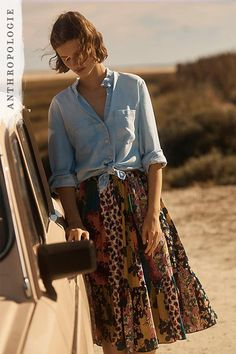 Flounced Patchwork Skirt | Shop skirts at Anthropologie