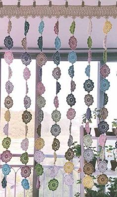 Crochet Bedspread Pattern, Granny Square Crochet Pattern, Crochet Motif, Crochet Patterns, Diy Crochet Curtains, Macrame Wall Hanging Diy, Curtain Patterns, Curtain Ideas, Crochet Decoration