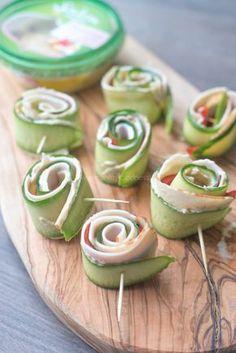 Komkommer-Kiprolletjes - OhMyFoodness. #sabramezze #houmous #hapjes