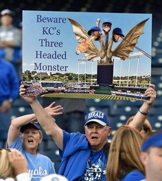 A Kansas City Royals fan displays his sign as he cheers for the team during Tuesday's World Series baseball game against the San Francisco Giants on October 21, 2014 at Kauffman Stadium in Kansas City, Mo.