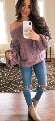 61b2499234  spring  outfits purple knit sweater Spring Outfits