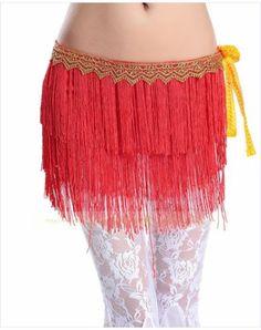 Belly Dance Hip Scarf Belt Outfit Fringe Tassel Mini Skirt Shiny Wavy Red