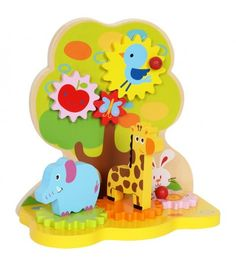 Gear Paradise Party in Paradise! Bird and butterfly are shaking the apple tree. Elephant, giraffe and snail are dancing in a circle. Bunny is only interested in his carrot. The two gear units can be rotated by the red knobs.