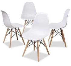 Baxton Studio Set of 4 Sydnea Mid-Century Modern White Acrylic Brown Wood Finished Dining Chairs