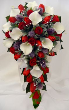 White Calla Lily Red Rose Thistle Teardrop Bouquet