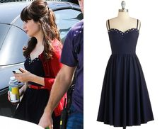 Zooey Deschanel was seen filming season 3 of New Girl wearing this vintage style dress with polka dot trim by Stop Staring!