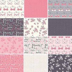 """Riley Blake THINK PINK Breast Cancer Precut 5"""" Stacker Charm Pack Fabric Quilting Cotton Squares 5-3700-12"""